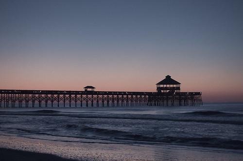 ocean blue sky beach water sunrise pier pretty surf waves shot sony picture southcarolina charleston follybeach atlanticocean lowcountry a55 sonya55 edwinstaylor ekarlbraun