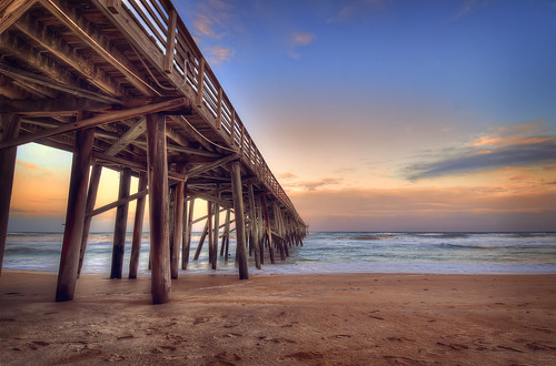 sunset color beach landscape pier day peace florida cloudy empty horizon peaceful hdr flagler 2012