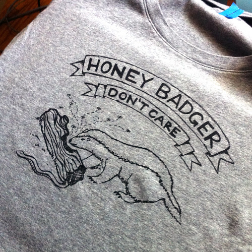handmade honey badger tshirt from vitamini