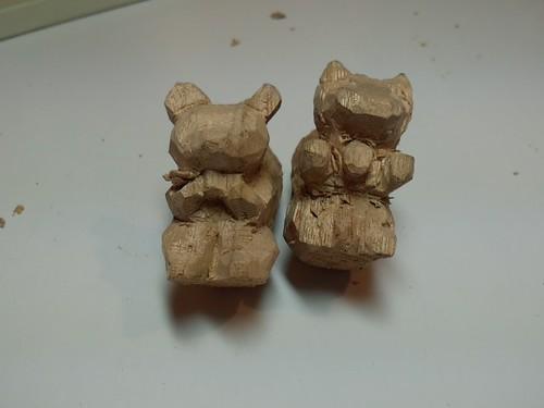 クリスマスな熊を彫刻したよ