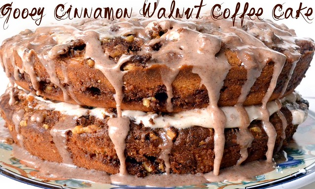 gooey cinnamon walnut coffee cake