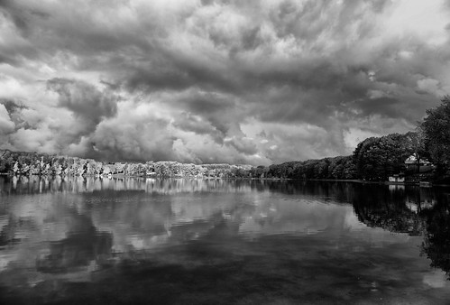 county lake fall water clouds reflections blackwhite cloudy michigan calm serene placid oceana
