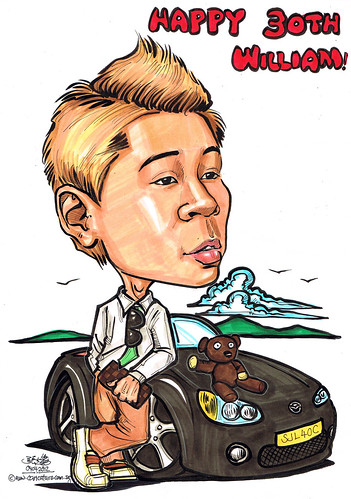 guy caricature with Mazda MX5