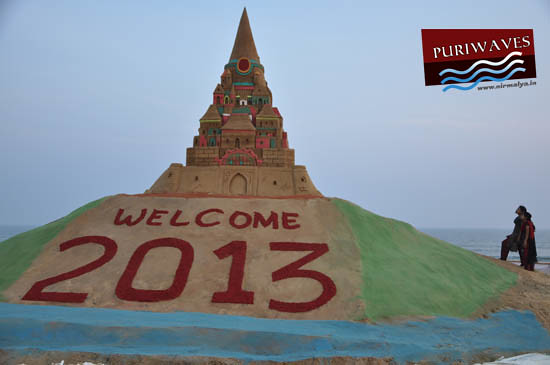 Sand Sculpture 2013 Happy New Year by Manas Kumar Sahoo