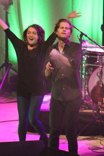 The Lumineers' Neyla Pekarek and Wesley Schultz champagne