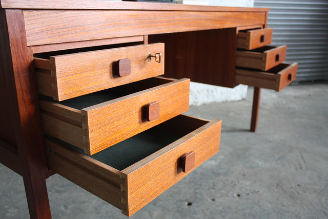 Pleasing Danish Mid Century Modern Domino Mobler Teak Desk (Denmark, 1950's)