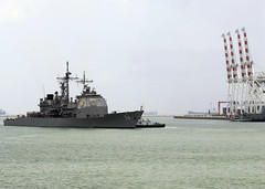 In this file photo, USS Antietam (CG 54) arrives in Laem Chabang, Thailand, for a port visit during a previous Western Pacific deployment. (U.S. Navy photo by Seaman Eboni C. Cameron)