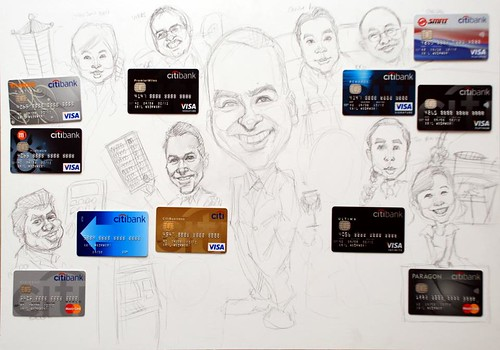 Group caricatures for Citibank - pencil sketch