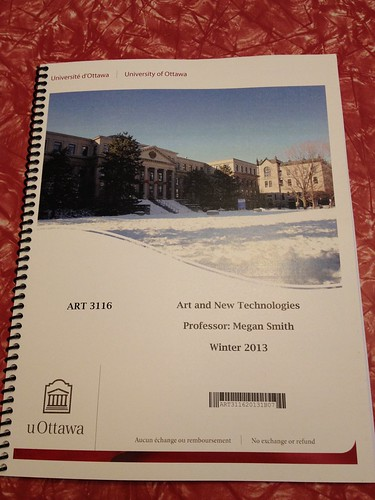 Picked up this great course pack today. ;-) #ART3116 at @uOttawa. 64 students!