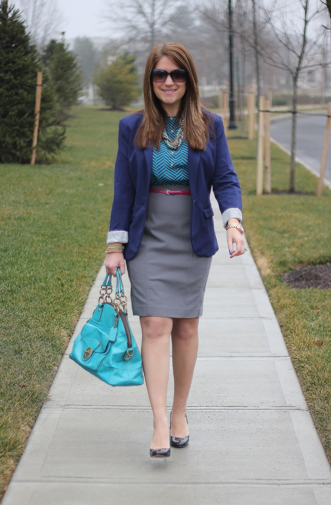 teal, navy, and gray work style