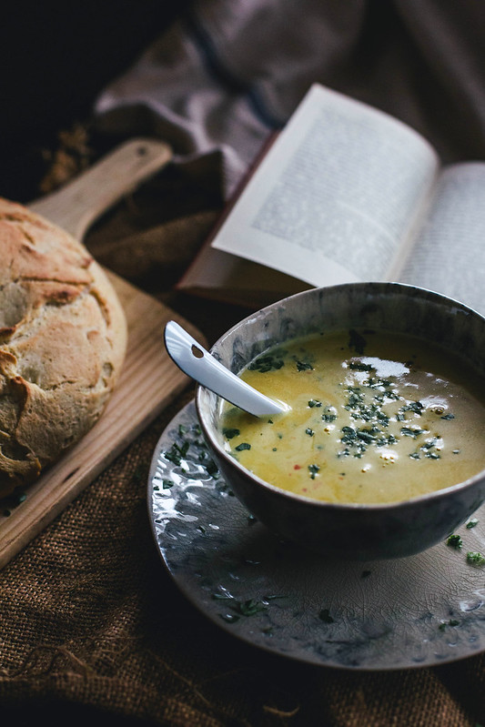 "Curried Kabocha Squash Soup & ""No Time"" Bread"