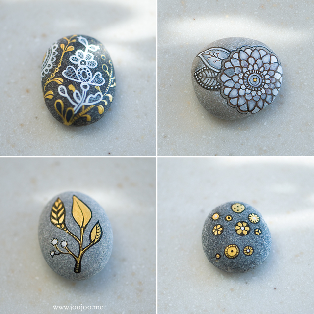 Gold, black and white pebbles