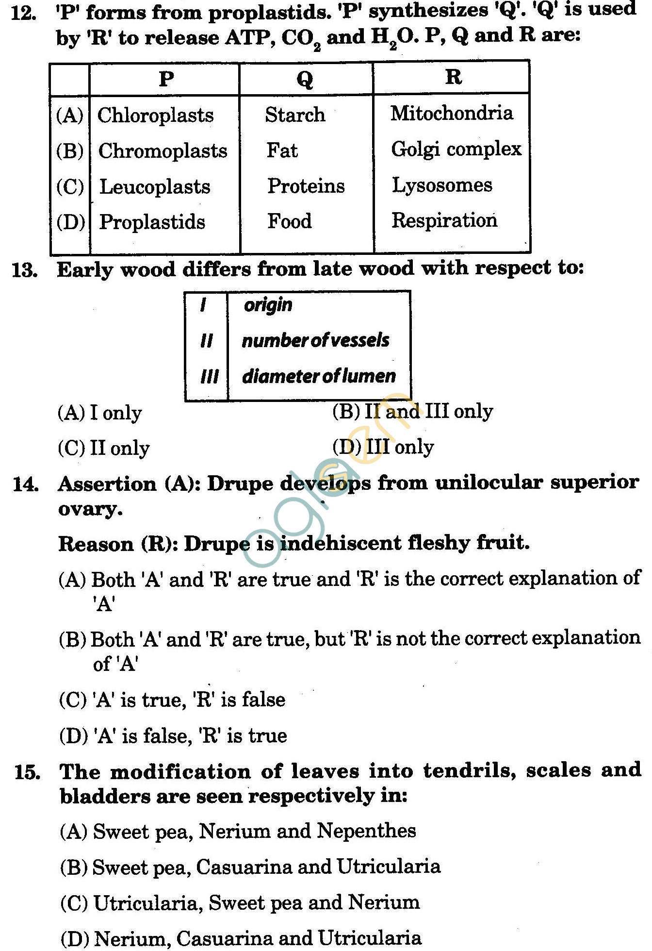 NSTSE 2009 Class XI PCB Question Paper with Answers - Biology