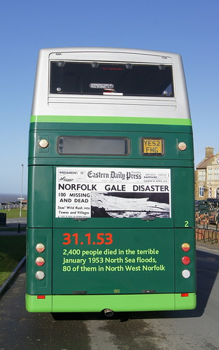 Norfolk Green Optare Spectra 2 YE52FHG with new branding to commemorate the North Sea Floods of 1953 (c) David Bell