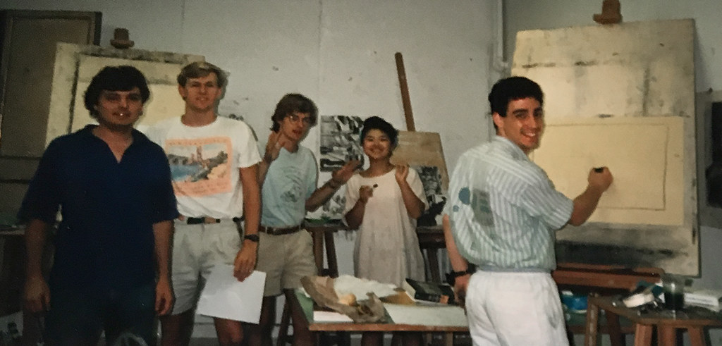 1988 summer students in Palazzo Massimo studio including Sunny Lee, and Doug Gensler.  photo / Susan Portman Price (B.S. URS '90, M.R.P. '91)