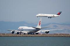 Air China Boeing 747-800 B-2482 port rear qtr Delta 717 port profile DSC_1672