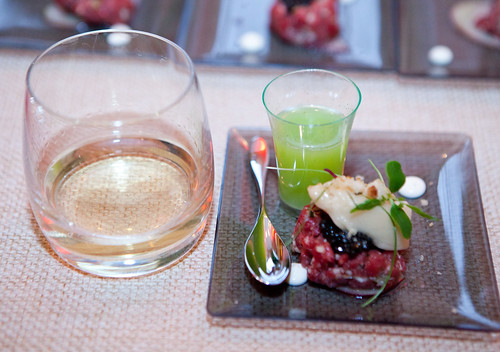 Beef Tartare with Oestra caviar, Apple Sorbet and Green Apple-Vanilla Vodka Shot