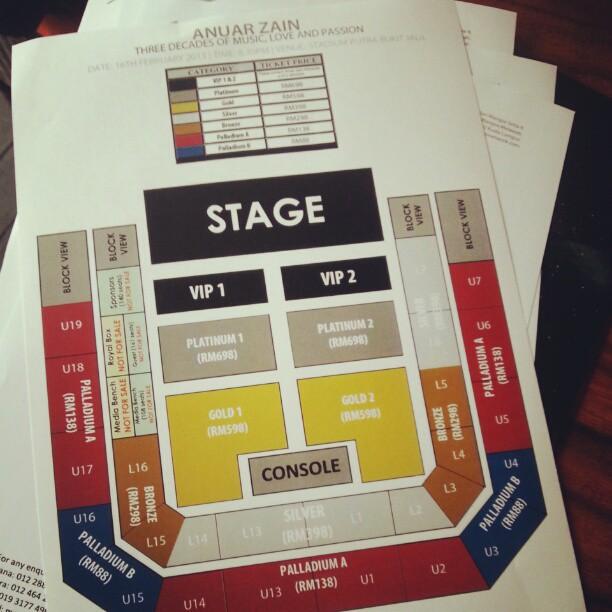 Seats utk Konsert Anuar Zain. Sape nak tahu harga tiket? Sila RT