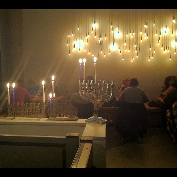 #kvpinmybelly : Lighting menorah. @oldworldtruck #Hanukkah Pop Up dinner in #sf #in #fb