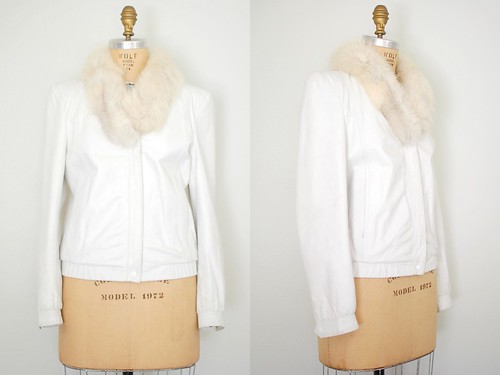 70s white leather and fox jacket