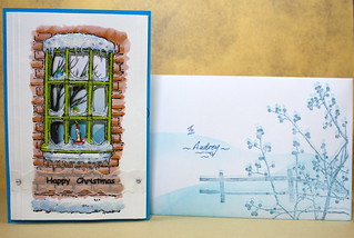 Recycled christmas card and Envelope