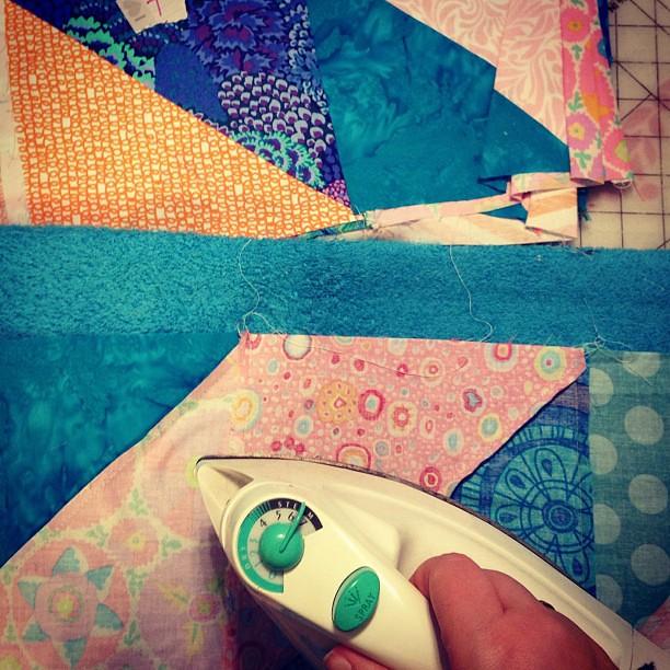 Strips: sewn. Now: ironing.