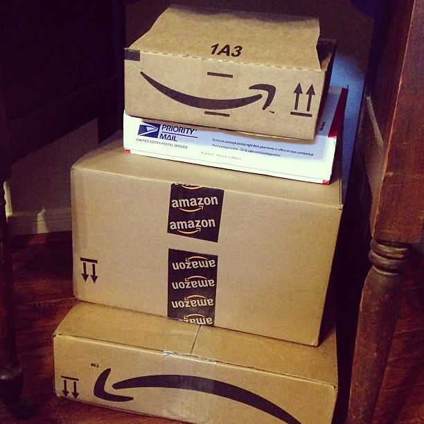 It's the box with the smile!! (yeah one is frowning...) #Amazon
