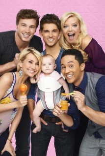 The cast of Baby Daddy gathers around baby Emma, grinning excitedly. She is impassive.