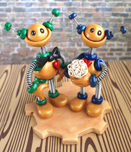 Commission: Robot Wedding Cake Topper: Gold, Green and Blue by HerArtSheLoves