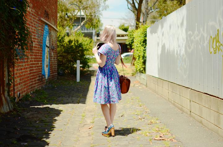 blue pink vintage dress c