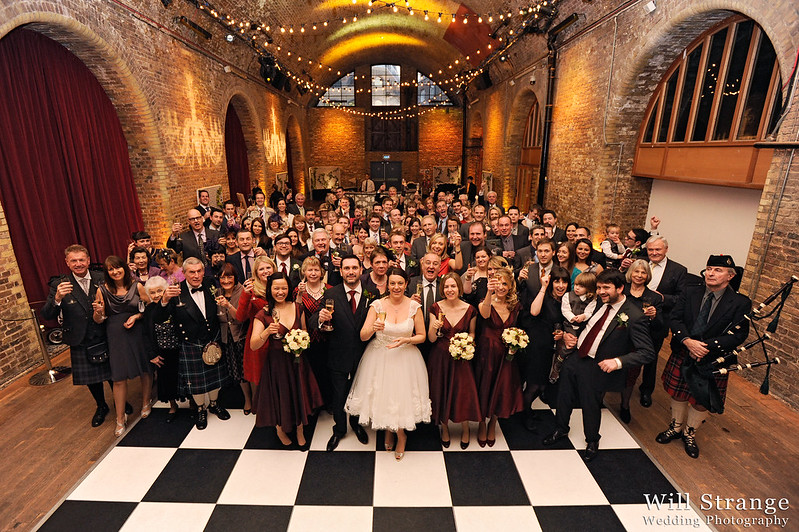 Photo of all wedding guests in Vinopolis