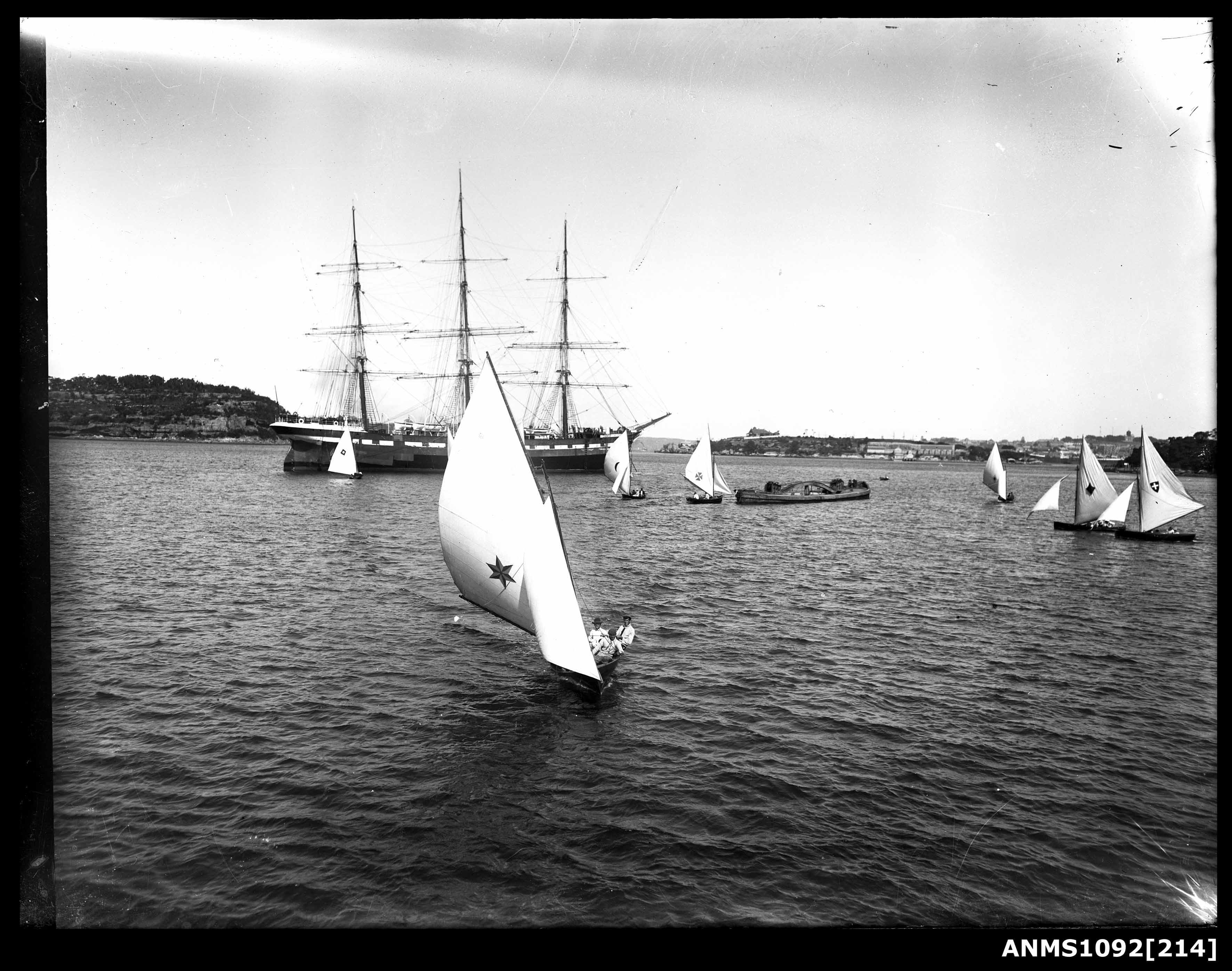 Three masted full rigged ship at anchor, Sydney Harbour
