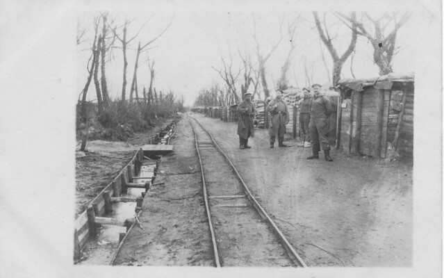 Sailors guarding a narrow-gauge behind the line