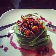 Baby spinach and portobello salad with raspberry vinaigrette...