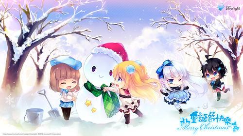 121223(2) - 台灣微軟Silverlight看板娘「藍澤光」歡度聖誕節、四個姊妹花『MERRY XMAS』特製桌布大公開!