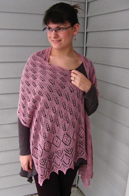 Lilac Leaf Shawl by Nancy Bush, knit in 2 balls of Classic Elite Silky Alpaca Lace.