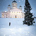 Snowing on Christmas day: Helsinki cathedral by miemo
