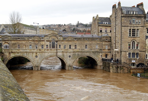 The Pulteney Bridge, Bath with the River Avon in flood.