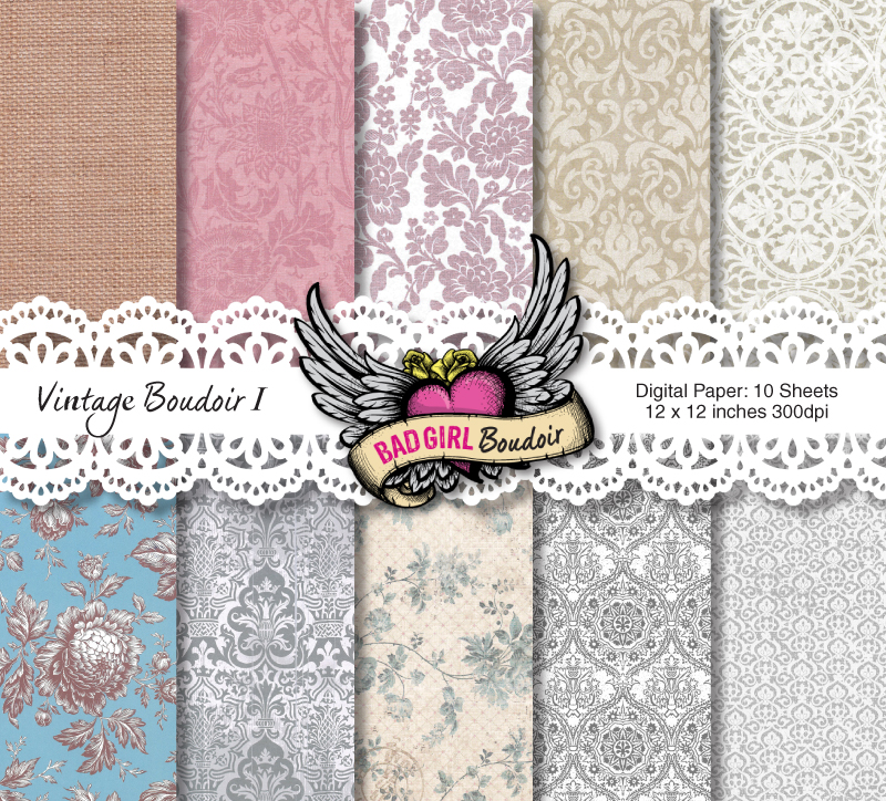 Vintage Boudoir Digital Paper Pack for Photographers, Scrapbookers Book, Album Design