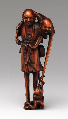 021-Netsuke -Ashinaga y Tenaga -siglo 18-realizado en madera- Metropolitan Museum of Art