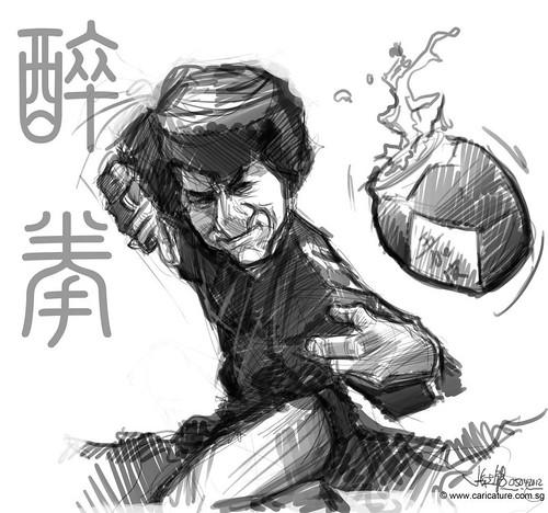 digital caricature sketch of Jackie Chan Drunken Master - 1