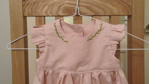 Dusky Pink Kona Geranium Dress, Size 12-18 months with extra embroidery