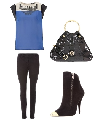 Electric Blue Block Top and Skinny Pants