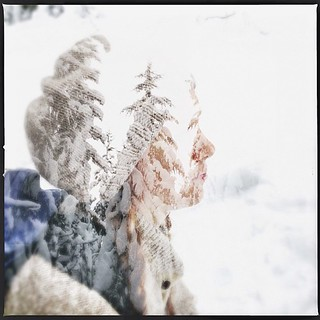 Double exposed self-portrait from yesterday's snowshoe adventure