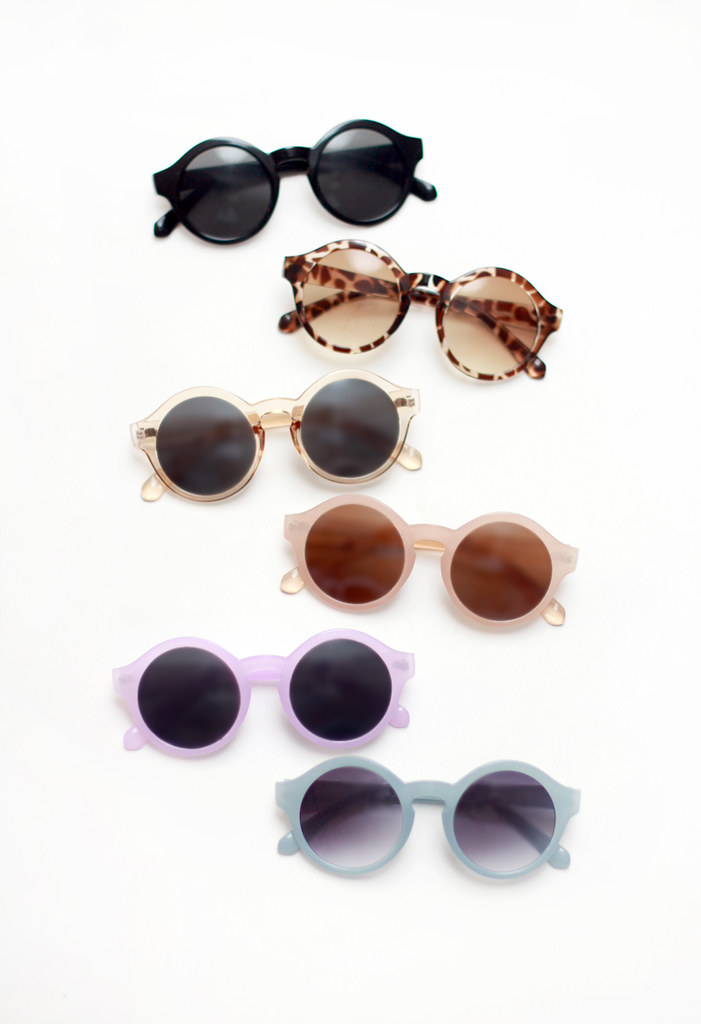 circle round lilac light blue sunglasses by Tarte Vintage at shoptarte.com