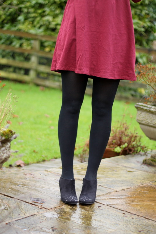 ASOS Peter Pan burgundy dress, Tesco shoe boots