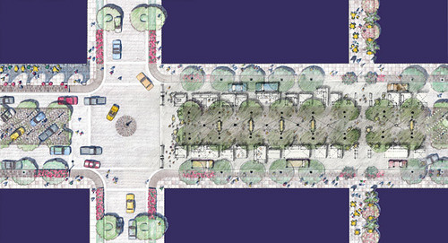 rendering of the redesigned BLVD (courtesy of Moule & Polyzoides)