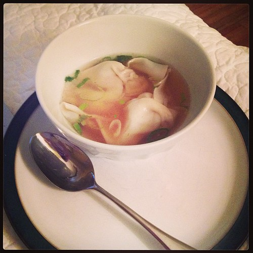 Breakfast in bed for the sick girl: Wonton soup and Melrose Place reruns on Netflix.