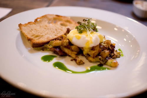 Boar Hash, Poached Egg, Hollandaise