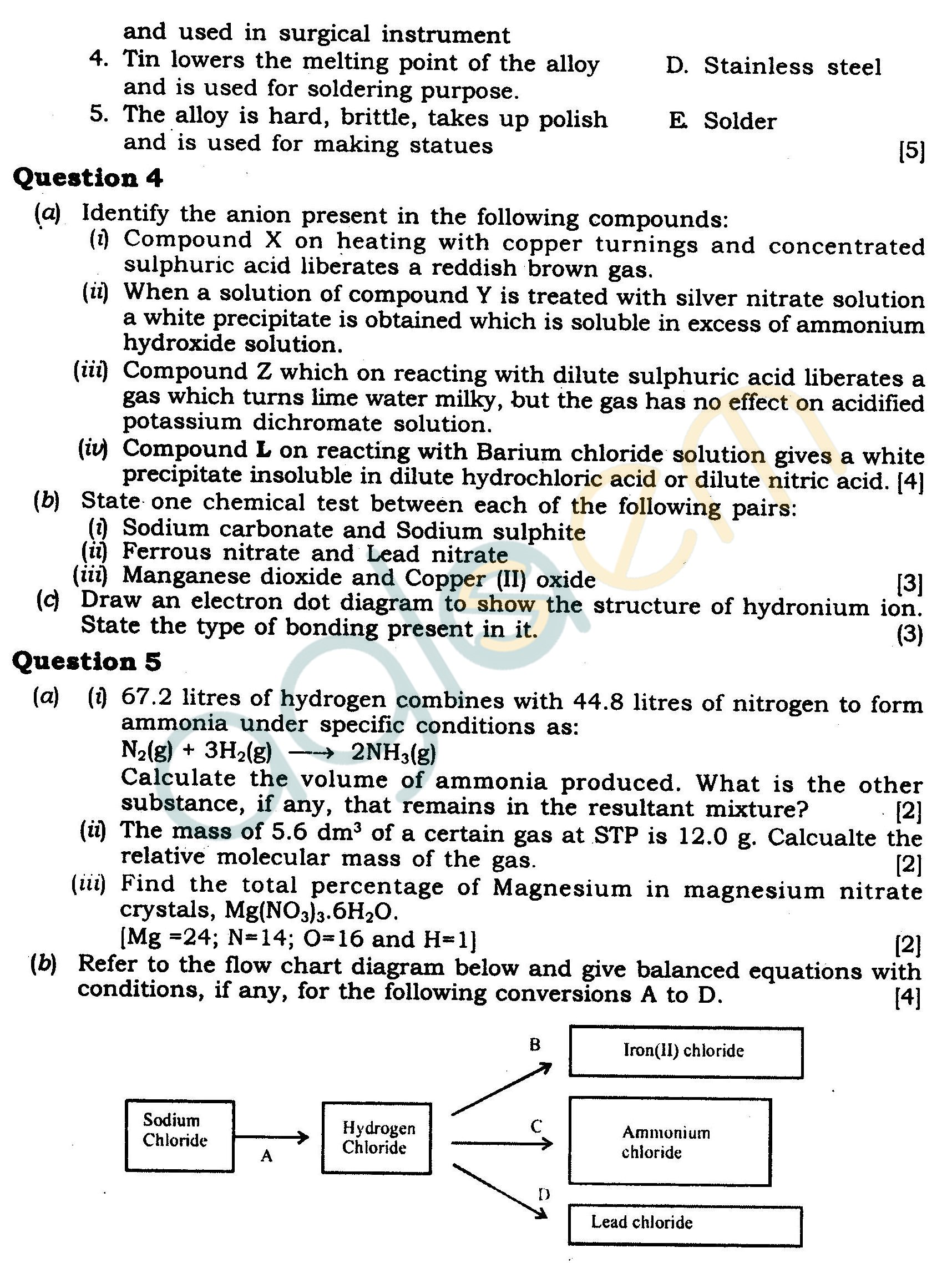 ICSE Class X Exam Question Papers 2012 Chemistry (Science Paper-2)